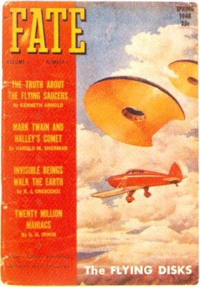 The cover of the first issue of Fate depicted a highly sensationalized version of Ken­neth Arnold's encounter.