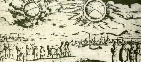 On November 4, 1697, two glowing wheels sailed over Hamburg, Germany, according to one account. Early reports such as these are difficult to evaluate and may or may not be related to the modern UFO phenomenon.