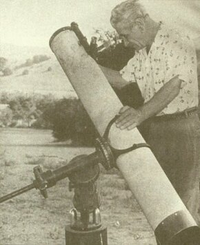 """An avid amateur astronomer, """"Professor"""" George Adamski claimed to have photographed spaceships through his telescope."""