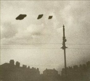 "In March 1966 a British teenager photographed these dubious-looking ""UFOs"" -- apparently superimposed cardboard cutouts -- and persuaded many that they were spaceships from another world."