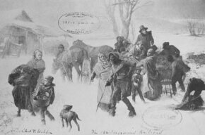Slaves reaching freedom via the Underground Railroad