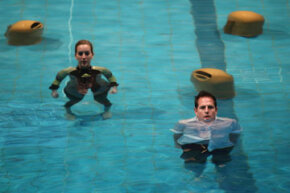 """Underwater German opera? You're soaking in it. Here we see singers performing in a 2011 rehearsal for """"AquAria Palaoa."""""""