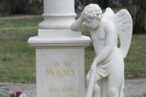 A close-up of Wolfgang Mozart's tombstone; no one is sure whether he is really underneath as he was originally buried in an unmarked grave.