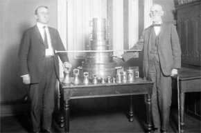 Two bureaucrats circa 1900 pose before attending to the very official, very serious business of keeping up weights and measures in the U.S. Standards Office in Washington, D.C.