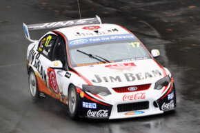 Steven Johnson drives the #17 Jim Beam Racing Ford during qualifying for race five of the Hamilton 400, which is round four of the V8 Supercar Championship at Hamilton City Street Circuit on April 16, 2011 in Hamilton, New Zealand.