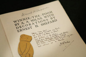 "This rare and valuable first edition of A.A. Milne's classic ""Winnie The Pooh"" features the author's inscription."