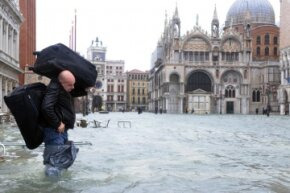Venice's Piazza San Marco completely flooded in November 2012 when heavy rain and wind hit the city.