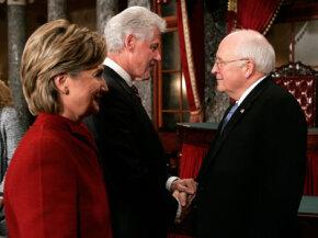 Vice President Dick Cheney welcomes returning senators, including Sen. Hillary Clinton