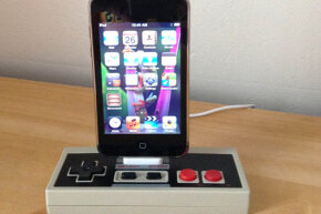 This iPhone dock was cleverly repurposed from an NES controller.