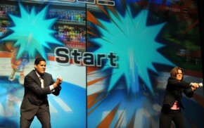 Careers in video game design can play a good wage especially for those at the top. Here, Reggie Fils-Aime, president of Nintendo America, plays Wii against Cammie Dunaway, executive vide president.