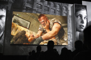 Men fight to the death in the violent PlayStation 3 game, The Last of Us, at a Sony press conference on the eve of the Electronic Entertainment Expo (E3) in Los Angeles in 2012.