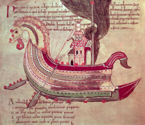 A dragon ship, as depicted in a manuscript