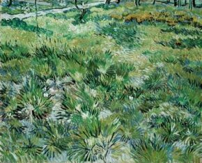 Meadow in the Garden of Saint-Paul Hospital by Vincent van Gogh (oil on canvas, 25-1/2x32 inches) can be found in London's National Gallery.