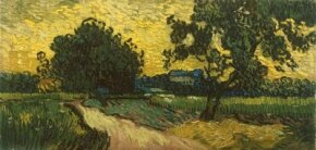 Vincent van Gogh's Landscape at Twilight (oil on canvas, 19-3/4x39-1/4 inches) resides in the Van Gogh Museum in Amsterdam.