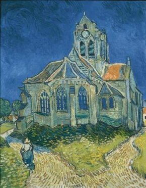 Vincent van Gogh's The Church at Auvers-sur-Oise (oil on canvas, 37x29-1/4 inches) hangs in the Musée d'Orsay, Paris.