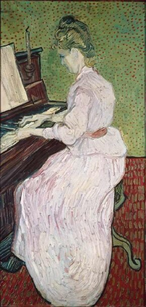 Vincent van Gogh's Marguerite Gachet at the Piano (oil on canvas, 40-1/2x19-3/4 inches) is housed at the Öffentliche Kunstsammlung Basel, Kunstmuseum Basel.