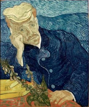 Vincent van Gogh's Portrait of Dr. Gachet (oil on canvas, 26-1/2x22 inches) is part of a private collection.
