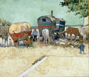 Vincent van Gogh's Encampment of Gypsies with Caravans is an oil on canvas (17-3/4x20 inches) that is housed in Musée d'Orsay in Paris.
