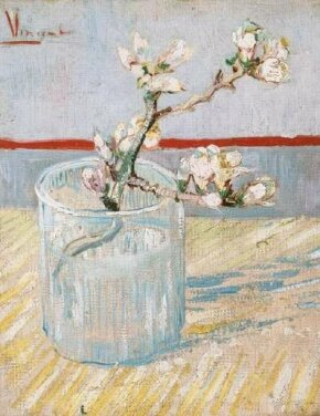Vincent van Gogh's Sprig of Flowering Almond Blossom in a Glass is an oil on canvas (9-1/2x7-1/2 inches) that is housed in the Van Gogh Museum in Amsterdam.