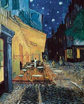Vincent van Gogh's Café Terrace on the Place du Forum, Arles, at Night is an oil on canvas (32x25-3/4 inches) that is housed in the Kröller-Müller Museum in Otterlo, Netherlands.