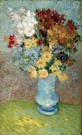 Vincent van Gogh's Flowers in a Blue Vase is an oil on canvas (24 x 15 inches) that is housed in the Van Gogh Museum in Amsterdam.