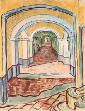 Vincent van Gogh's A Corridor in the Asylum (black chalk and gouache on pink ingres paper, 25-5/8x19-5/16 inches) belongs to New York's Metropolitan Museum of Art as part of a 1948 bequest from Abby Aldrich Rockefeller.