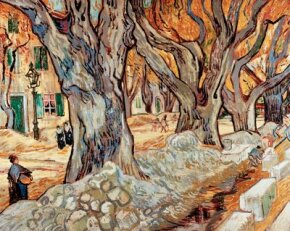 Vincent van Gogh's The Large Plane Trees (oil on canvas, 29x36-1/4 inches) can be seen at the Cleveland Museum of Art.