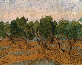 Olive Grove by Vincent van Gogh, can be seen in Amsterdam's Van Gogh Museum.