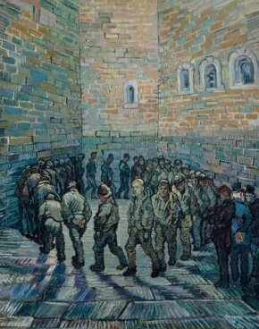 Vincent van Gogh's Prisoners Exercising (After Doré (oil on canvas, 31-1/2x25-1/4 inches) hangs in Moscow's Pushkin Museum of Fine Art.