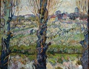 Orchard in Blossom with View of Arles (oil on canvas, 28-1/4x36-1/4 inches) can be found at Bayerische Staatsgemaldesammlungen, Neue Pinakothek, Munich.