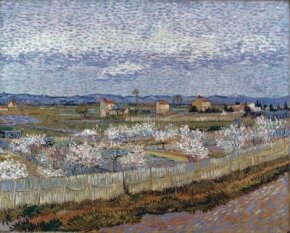 Vincent van Gogh's Le Crau with Peach Trees in Blossom (oil on canvas, 25-3/4x32 inches) hangs in London's Courtauld Institute Gallery.
