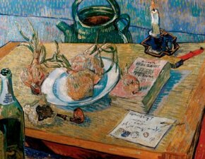 Still Life: Drawing Board, Pipe, Onions and Sealing Wax by Vincent van Gogh, hangs in the Kröller-Müller Museum in Otterlo in the Netherlands.