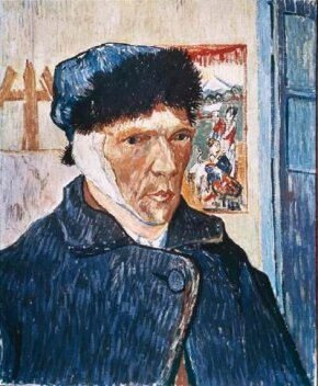 Vincent van Gogh's Self-Portrait with Bandaged Ear (oil on canvas, 23-1/2x19-1/4 inches) is part of the Courtauld Institute Gallery in London.
