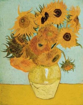 Vincent van Gogh's Still Life: Vase with Twelve Sunflowers (oil on canvas, 35-3/4x28-1/4 inches) is housed at the Bayerische Staatsgemal- Desammlungen, Neue Pinakothek, Munich.