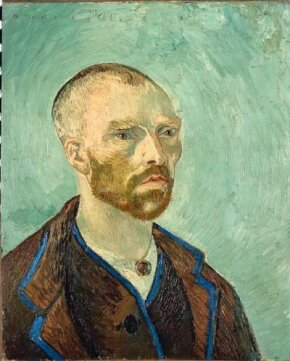 Vincent van Gogh's Self-Portrait Dedicated to Paul Gauguin (Bonze) (oil on canvas, 24-1/2x20-1/2 inches) resides at the Fogg Art Museum of Harvard University in Cambridge.