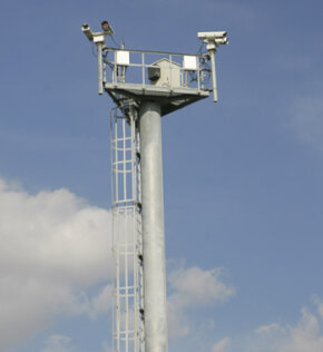 Towers similar to this one form part of the virtual and physical fences, using sophisticated cameras and other technology to monitor the border.