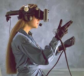 Head-mounted display and wired gloves. See more virtual reality pictures.