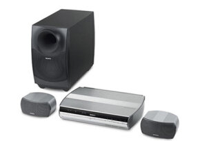 A Sony 2.1 surround-sound system with subwoofer and receiver/amplifier