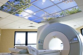 A virtual window installation by Sky Factory in an MRI suite.