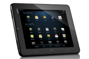 The Vizio tablet, outfitted with the V.I.A. Plus interface on Android 2.3 (Gingerbread).