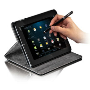 Accessories like a stylus and foldable tablet cover/stand are available from Vizio. (You'll have to find your own disembodied hand.)