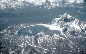 The caldera at Kaguyak Volcano, in Alaska, is about 1.5 miles (2.5 km) in diameter.