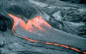 Flowing lava on Kilauea Volcano in Hawaii