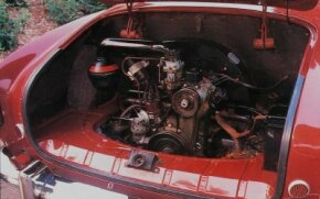 The Karmann-Ghia used the air-cooled horizontally opposed VW Beetle 4-cylinder engine. Horsepower ranged from 36 in 1955 to 60 by 1971.