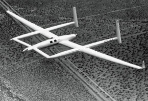 The Voyager aircraft was used by Jeana Yeager and Dick Rutan in their non-stop, round-the-world flight. See more pictures of flight.