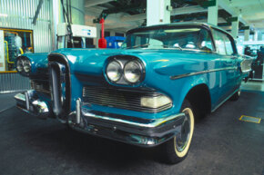 The Edsel was produced by the Ford Motor Company between 1957 and 1959 and was intended to fill the supposed gap between the Ford and Mercury lines.