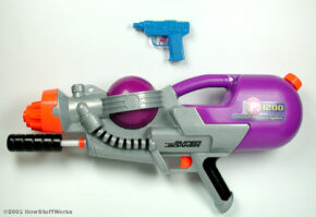 Water guns have come a long way in the past 20 years. An ordinary squirt gun can only shoot water 8 or 9 feet, but a pump-action water blaster, like this Super Soaker CPS 1200, can shoot water more than 50 feet. See more toy pictures.