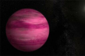 Glowing a dark magenta, the exoplanet GJ 504b -- illustrated here with an artist's depiction -- weighs in at about four times Jupiter's mass.