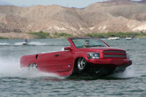 Image Gallery: Concept Cars The WaterCar Python is capable of more than 60 miles per hour (52 knots) on the water, and a top speed of more than 125 miles per hour (201.2 kilometers per hour) on land. See pictures of concept cars.