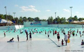 Thunder Bay, the 2-million-gallon (7.6-million-L) wave pool at Wet 'n Wild Emerald Pointe in Greensboro, NC.